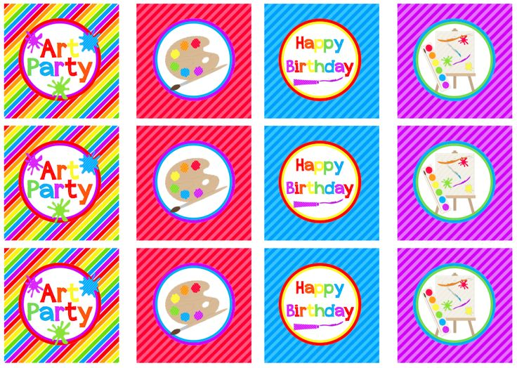 Art Party Cupcake Toppers, favor tags | Free Printables: You put the ART in party