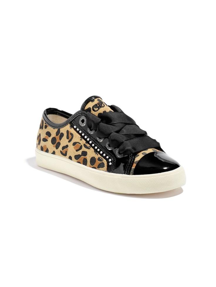 GUESS Kids Girls Big Girl Louvre Low Sneakers – Cheetah P, MULTI (7)
