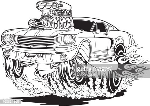 A Vector Illustration Of A Cartoon Style Mustang Muscle Car. Description  From Gettyimages.lu  Car Description