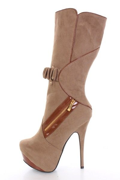 Taupe Faux Suede Leather Trim Zipper Decor Platform Sexy Boots @ Amiclubwear Boots Catalog:women's winter boots,leather thigh high boots,black platform knee high boots,over the knee boots,Go Go boots,cowgirl boots,gladiator boots,womens dress boots,skirt