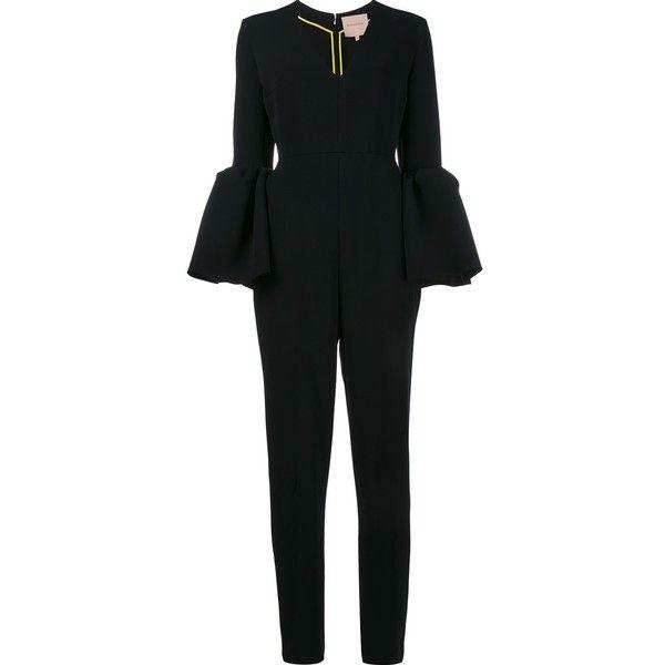 Roksanda Margot Bell Sleeve Jumpsuit ($2,180) ❤ liked on Polyvore featuring jumpsuits, black, long jumpsuits, jump suit, v neck jumpsuit and roksanda