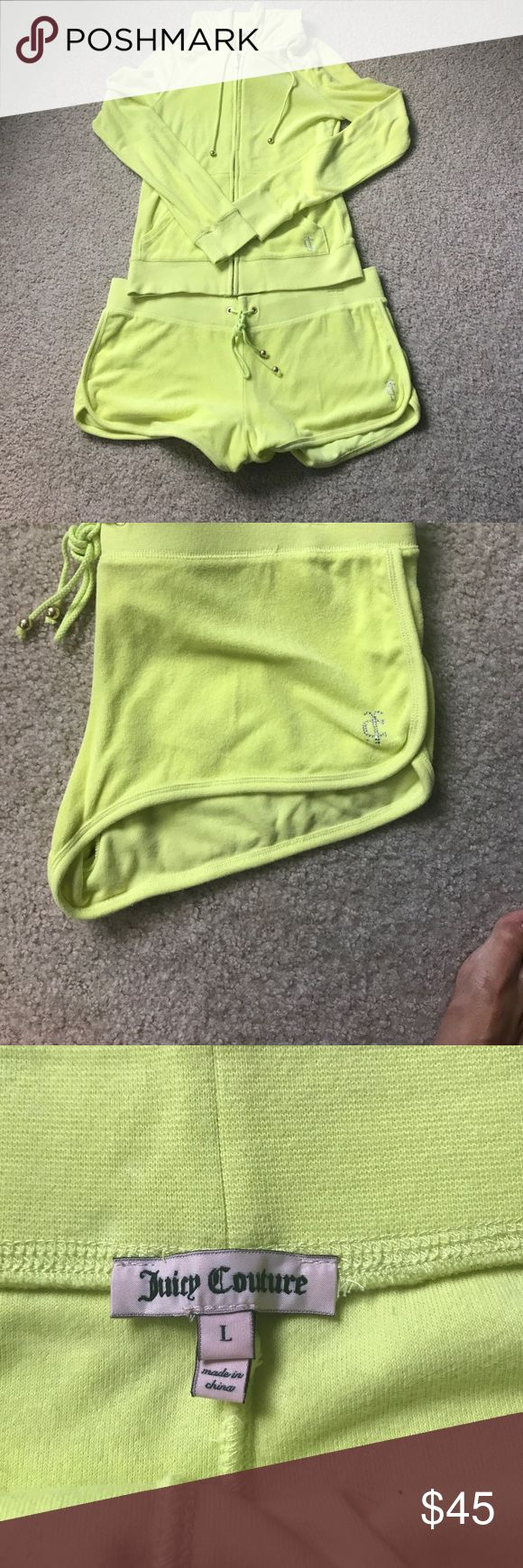 Juicy Couture Sweatsuit - Shorts & Full-zip Hoodie EUC Juicy Couture Sweatsuit - Shorts & Full-zip Hoodie in banana yellow. Please note sizes - hoodie is a medium, shorts are a large. Shorts can be tightened to size with drawstring. Minor piling. Super cute for summer! Questions welcome. Juicy Couture Other