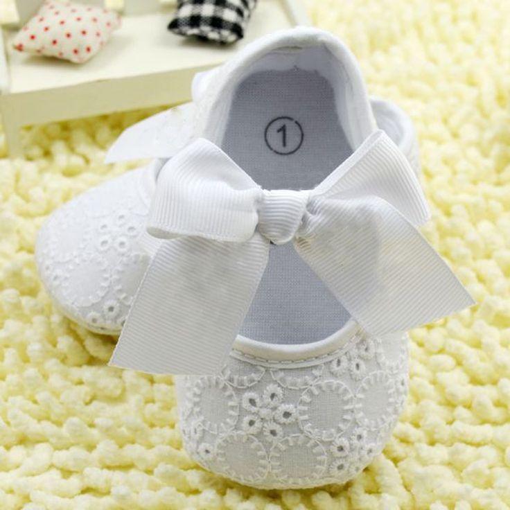 Blanco bowknot del cordón del bebé zapatos del niño de prewalker antideslizante primer caminante simple zapatos de bebé