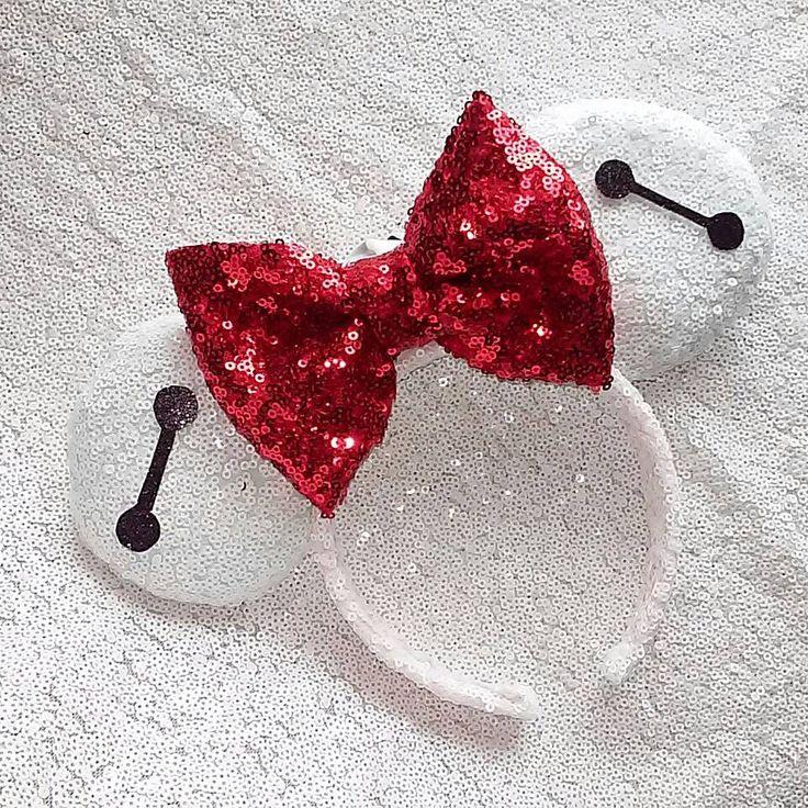 Baymax Big Hero 6 sequin Minnie ears by lizzyzbowtique on Etsy https://www.etsy.com/listing/295268107/baymax-big-hero-6-sequin-minnie-ears
