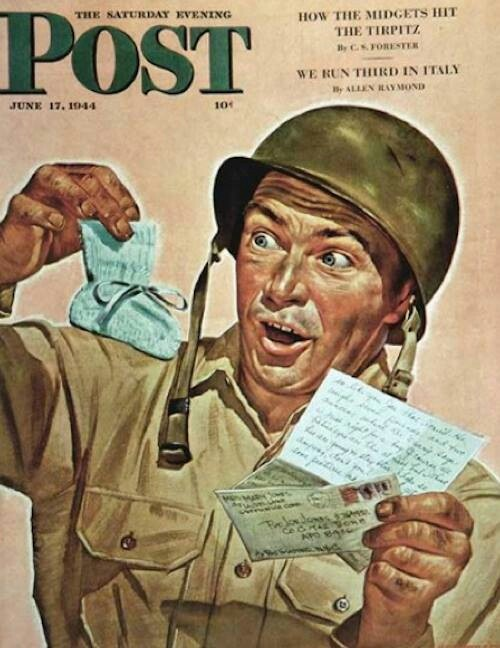 Art: Baby Booties At Boot Camp By Howard Scott ° Saturday Evening Post June 17th, 1944