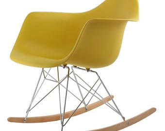 Eames inspired New Retro Plastic Rocking Rocker Lounge Leisure Chair. Panton era. Yellow. Mid century. FREE UK DELIVERY