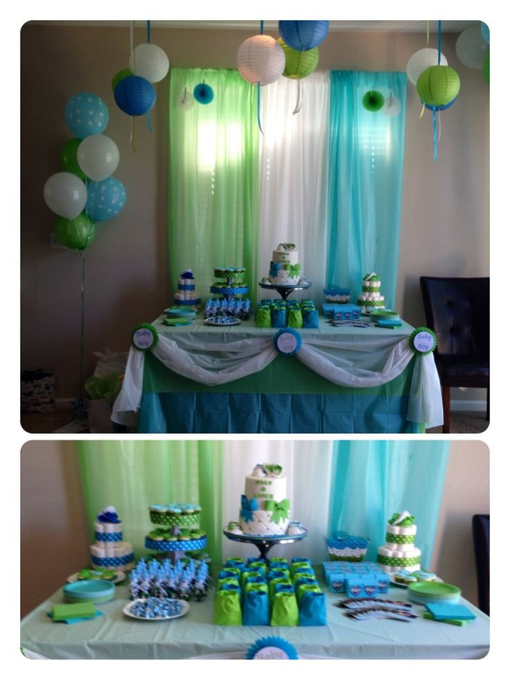 Our baby shower desert table blue green white theme for Baby shower decoration sets