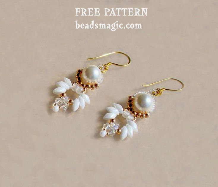Free pattern for beaded earrings Paloma U need pearls 8 mm magatama long bicones 4