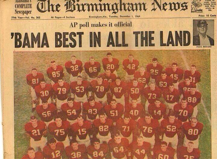 Dec. 1, 1964 The Birmingham News. Team photo of the #1 Alabama Crimson Tide