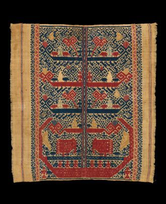 Tree of Life Tampan Kalianda, Lampung, Sumatra Cotton; supplementary weft 19th Century 17x15.5 in/ 43x39 cm  A unique Pohon Hidup Tree of Life rising from a classic ship with elephants on deck and ancestors and birds in the branches, this piece features iconography normally only found in the finest of royal ship cloths known as palepai.