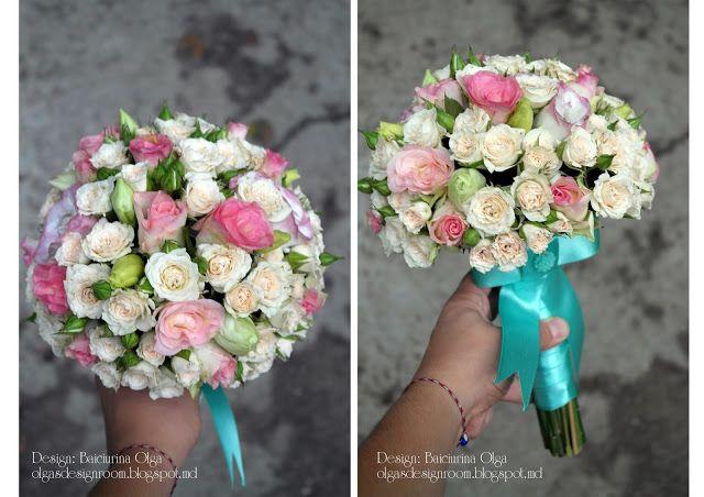 Baiciurina Olga's Design Room: Розово-кремовый букет невесты из кустовых розочек-Rose&ivory little roses wedding bouquet.