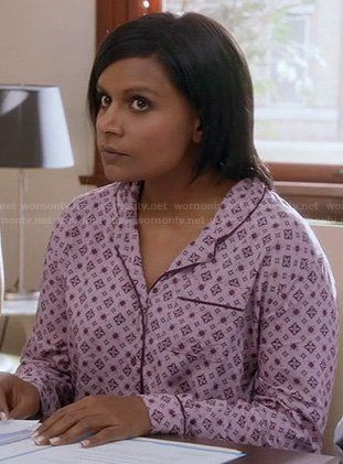 Mindy's pink printed pajama shirt on The Mindy Project.  Outfit Details: https://wornontv.net/20243/ #TheMindyProject