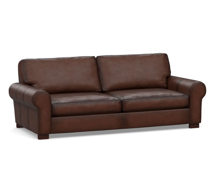Turner Roll Arm Leather Sofa 2 Seater 91 Down Blend Wrapped Cushions Burnished Walnut In 2021 Sofa Leather Sofa Leather Sleeper Sofa