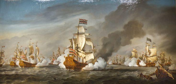 21.08.1673.The Battle of the Texel, 11-21 August 1673.Third Anglo-Dutch War.Michiel de Ruyter.De Gouden Leeuw (ship,1666) De Witte Oliphant (ship,1666)Amsterdam - Scheepvaartmuseum. Willem van de Velde (II)