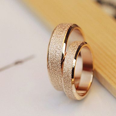 High Quality Titanium Steel Golden Dull Polish Couple Wedding Rings – AUD $ 18.18
