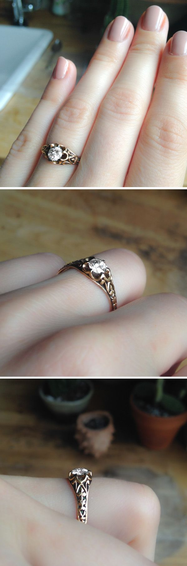 CLASSIC ANTIQUE VICTORIAN BUTTERCUP GOLD ENGAGEMENT RING