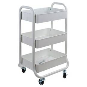 The 3-Tier Metal Utility Cart with Mesh Trays from Room Essentials is perfect for any space in need of stylish storage. Great for smaller spaces, this storage cart rolls easily and has 3 sturdy shelves.