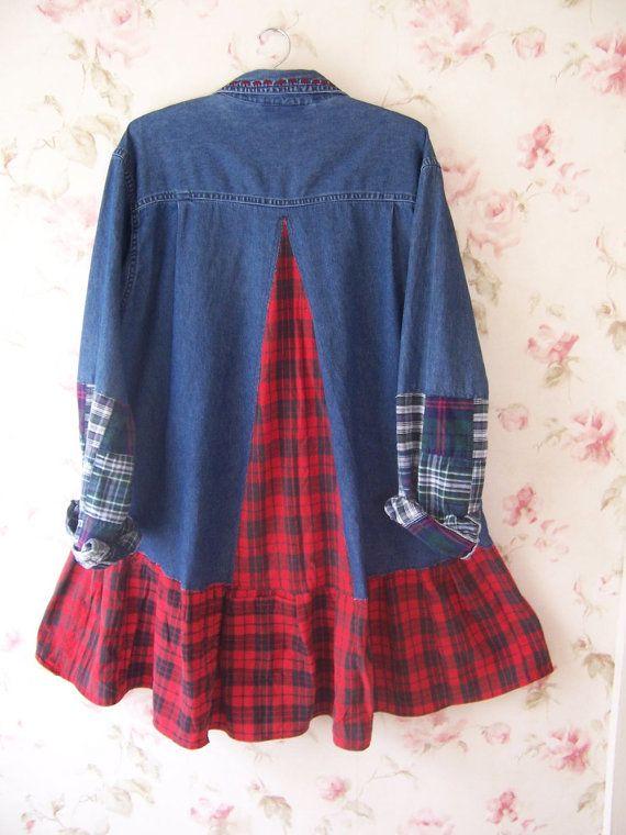 Denim Button Front Dress Shirt