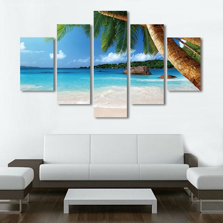 Home decor sea beach canvas painting set summer seascape palm tree wall art cuadros decoration pictures