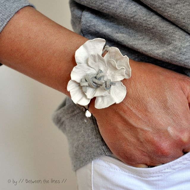 Leather flower bracelet. It is beautiful!