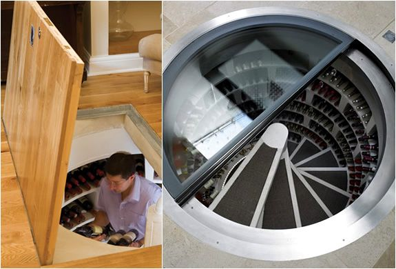 """UK company Spiral Cellars created the """"spiral wine cellars"""", which act as a spiral staircase with the bottles placed around them"""