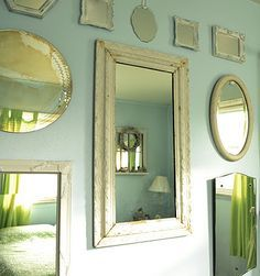 vintage mirrors collage wall art decorating - Google Search