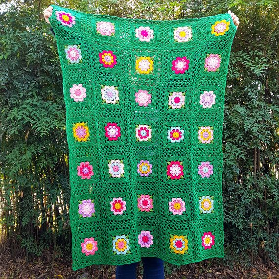 Girls Crochet Cot Blanket Floral Green Crib Blanket Nursery