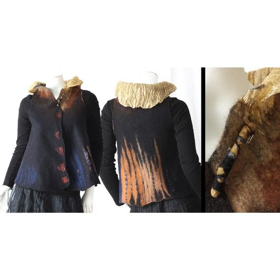 Awesome reversible nuno felt art vest with golden by ArianeMariane