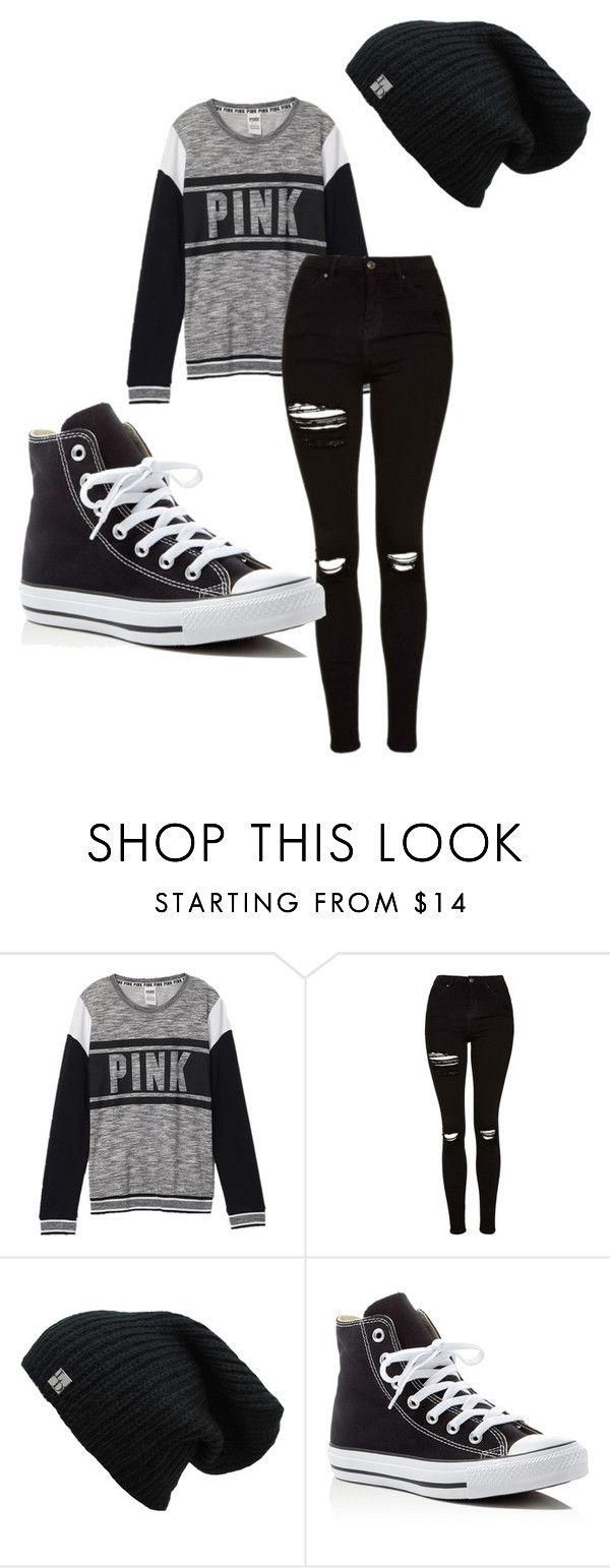 """""""Casual"""" by meridan101 ❤ liked on Polyvore featuring Victoria's Secret, Topshop and Converse"""