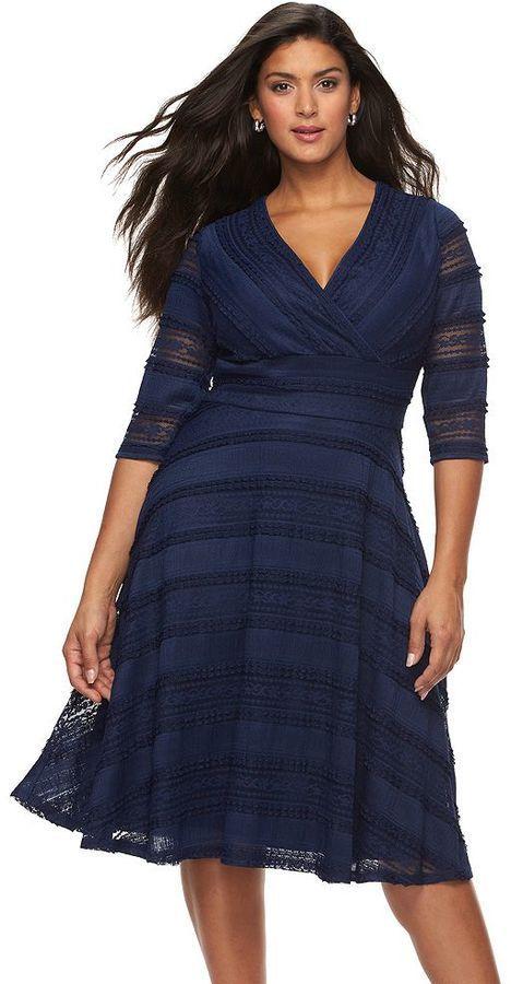 Plus Size Lace Fit Amp Flare Dress Plus Size Wedding Guest
