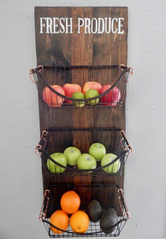 Wall Mounted Produce Basket Farmhouse Fruit And Vegetable Basket Kitchen Storage Kitchen W Kitchen Wall Storage Wall Storage Diy Fruit And Vegetable Storage