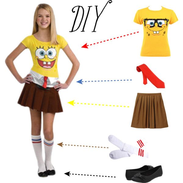 DIY spongebob halloween costume! haha yes with fake glasses, cut-off shoulder shirt, and a regular skirt!