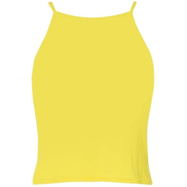 Boohoo Charlotte Spaghetti Strap Crop Top ($10) ❤ liked on Polyvore featuring tops, yellow, cropped tops, bralette tops, spaghetti strap crop top, off the shoulder crop top and kimono tops