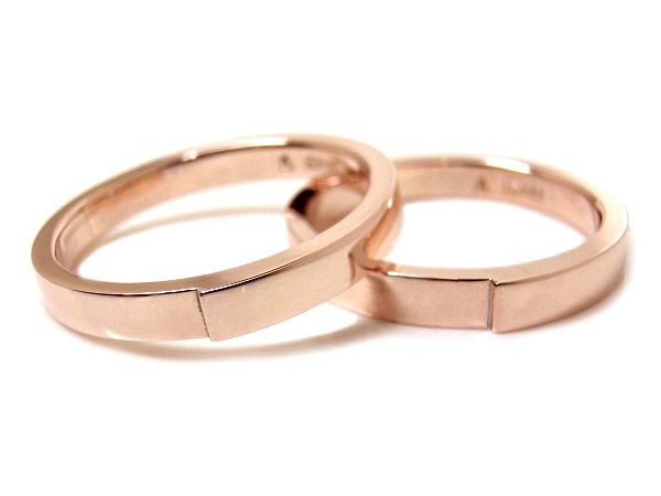 AMBRACE K18 pink gold ring stylish flat 3mm ピンクゴールド ペアリング スタイリッシュ フラット