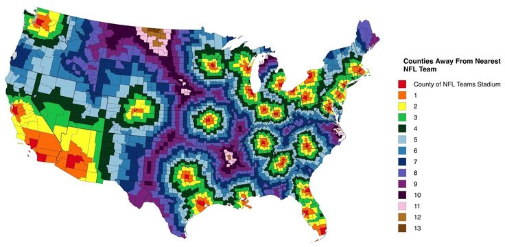 US Counties Away From Nearest NFL Stadium United States - Us map with nfl teams