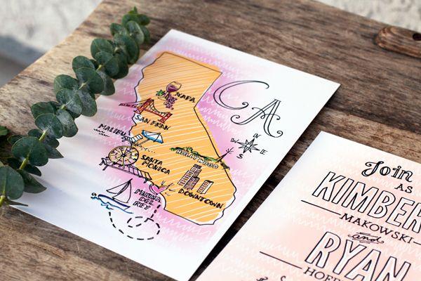 Wedding Invitation by HelloImKim Design  Illustration, California Map
