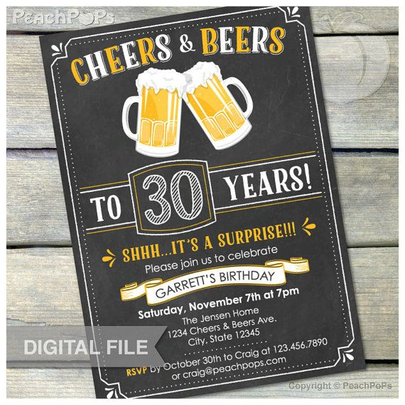 "► DIGITAL PRODUCT: (File 54) Shhh...it's a Surprise Cheers & Beers Birthday (30th, Any age 21+) - Digital Invite Size: 5"" x 7"" JPG (or PDF upon"