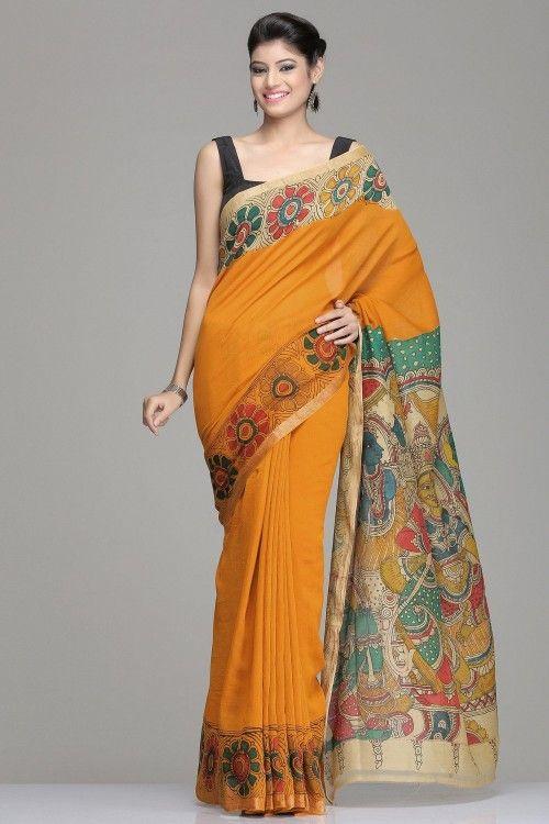 Kalamkari Sarees | Mustard Chanderi Saree With Kalamkari Floral