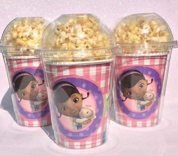 Set of 8 - Doc McStuffin Party Cups, PopCorn Box, Doc McStuffin Birthday Party, Favor Bag, Doc McStuffin on Etsy, $12.50