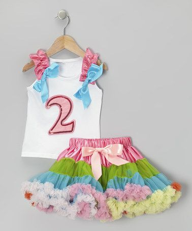 Take a look at this White '2' Ruffle Tank & Rainbow Pettiskirt - Toddler by Royal Gem on #zulily today!