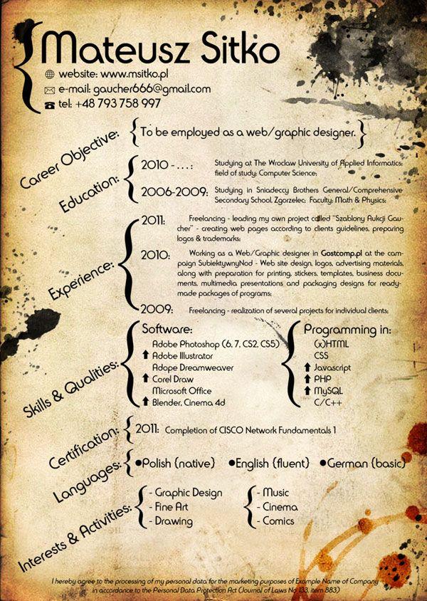 web-designer-cvjpg (600×844) pcv design Pinterest Cv design - web designer resume