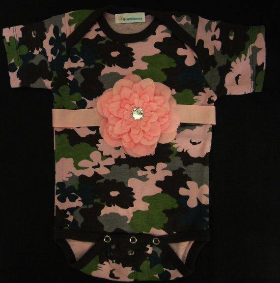 Pink Camouflage Onesie body suit for baby by Blossomgirlboutique, $13.95