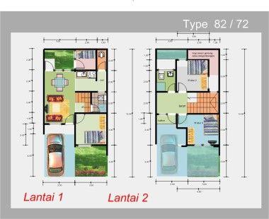 Denah Rumah Minimalis Modern 2 Lantai