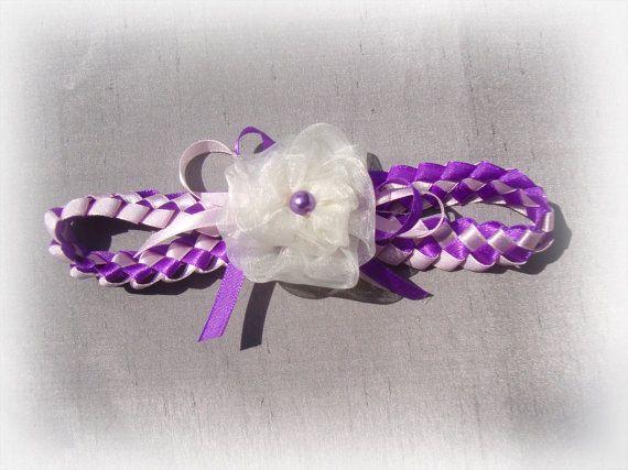 Fascia del bambino, neonata ragazza fantasia tessuto raso fascia, idee regalo, nastro viola e rosa avorio fiore