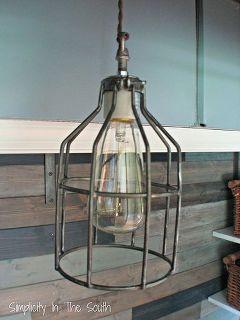 restoration hardware inspired industrial pendant light, lighting, DIY Cage light pendant