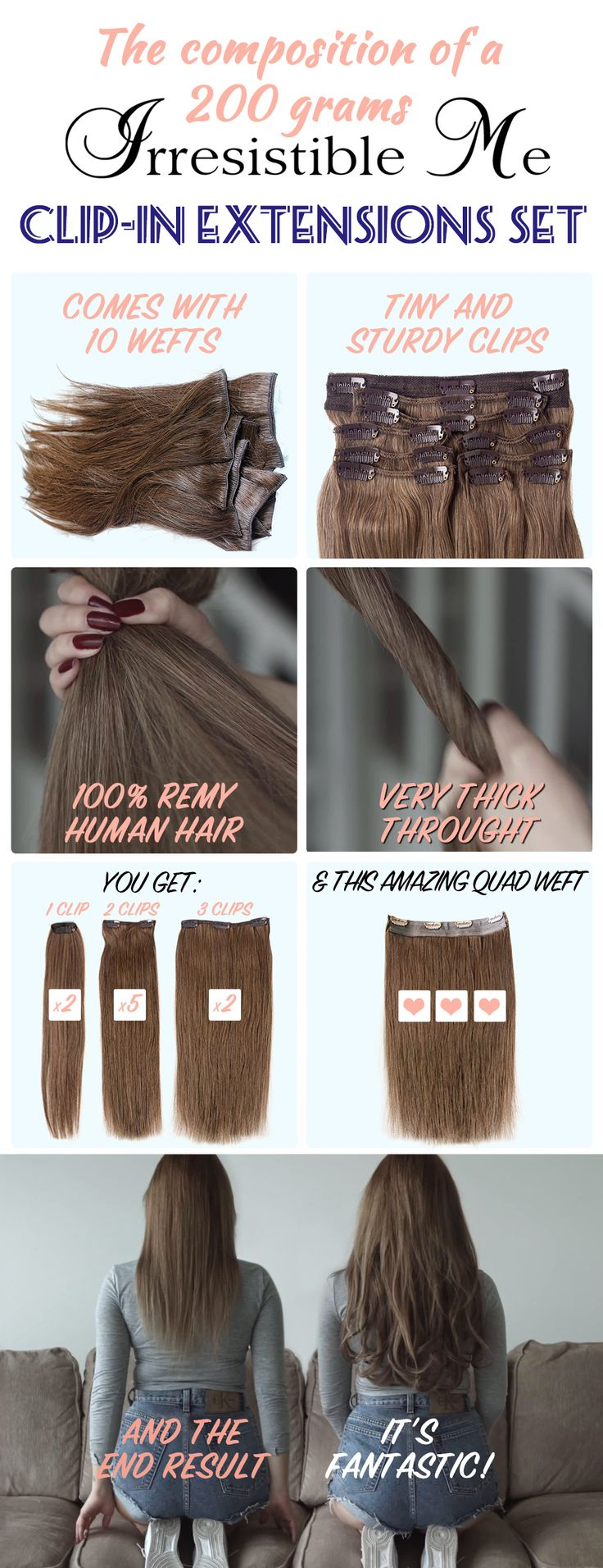 Best 25 hair extensions prices ideas on pinterest price add instant length and volume to your hair with these 100 human remy clip in hair extensions by irresistible me they look completely natural can be cut pmusecretfo Images