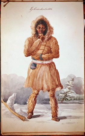 Egheechololle, a Dogrib Indian [Tlicho] by  George Back  December 1825 - March 1826 Known also by  the self-designator, Thlingchadinne, and the French equivalents, Flancs-de-Chien or Plats-Cotes-de-Chien, the Dogrib Indians  occupied an environment similar to that of the Chipewyan between Great Bear Lake  and Great Slave  Lake. The earliest recorded contact between these peoples and European traders occurred at Fort Churchill in  1766. [Trade Ornament ... 155] - bang «Four Dogrib Indians»