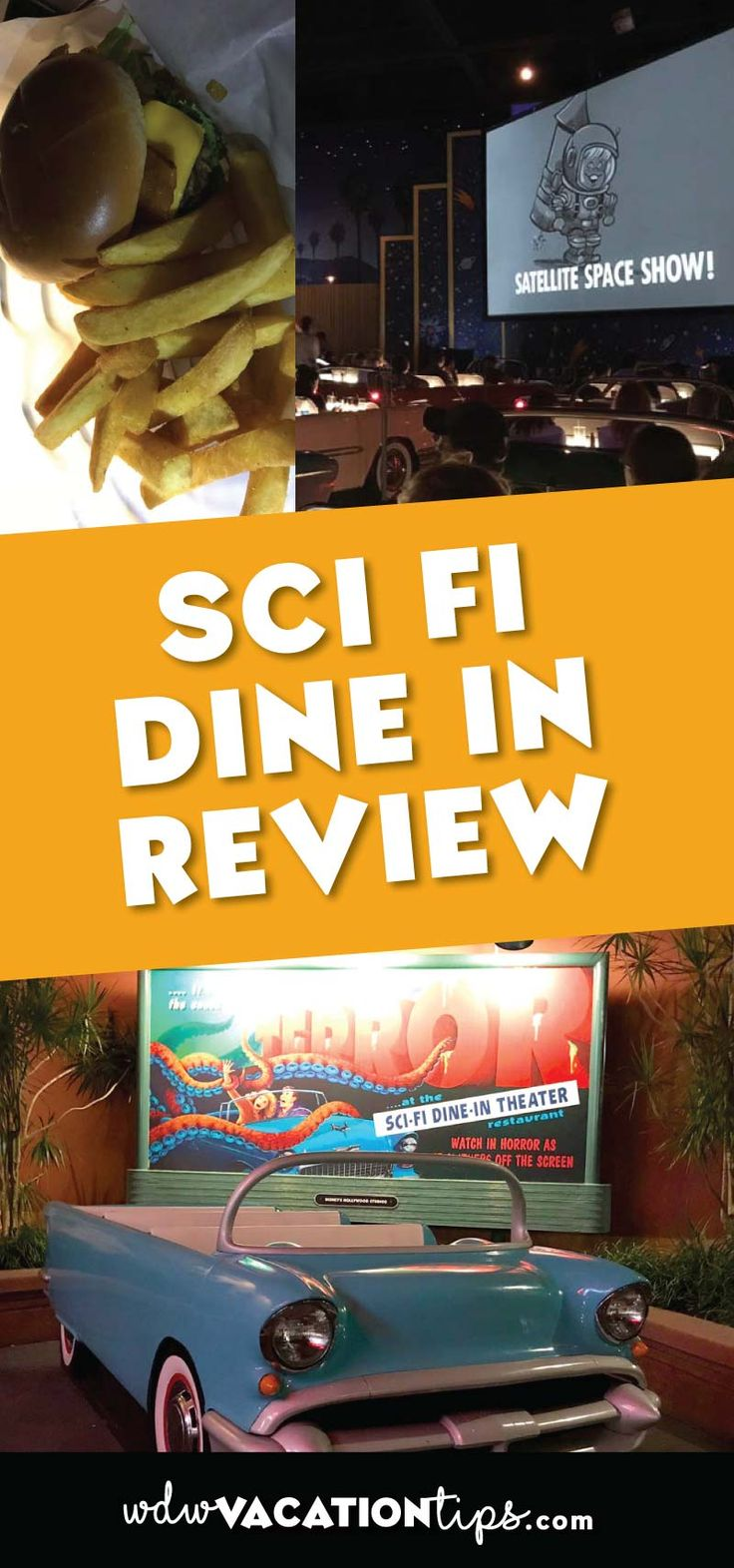 This place really wins on it's atmosphere! The whole place is modeled after a 50's drive in theater complete with vintage cars and sci-fi movies up on the movie screen.