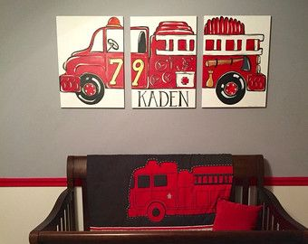 """triptych red vintage fire truck. 54""""x24"""" original painting . large triptych art. fire truck room decor. personalized with name made to order by sincerelyYOU"""