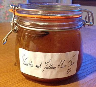 Yellow plum jam with vanilla bean and butter. Produces a jam that is sweet and tangy with a rich creaminess. This recipe will be repeated. Used 5 500ml. jars with a sampler size of another 50ml for the fridge.